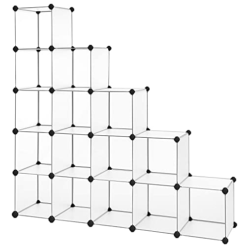 SONGMICS Scaffale a 16 Cubi, con Sistema Fai-da-Te, Organizzatore Stabile in Plastica PP, Guardaroba, Divisori per Armadio, Scarpiera, per Camera da Letto, Ufficio, Bianco LPC44L