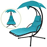 Flex HQ Hanging Chaise Lounger Chair Arc Stand Porch Swing Hammock Chair W/Canopy (Blue)