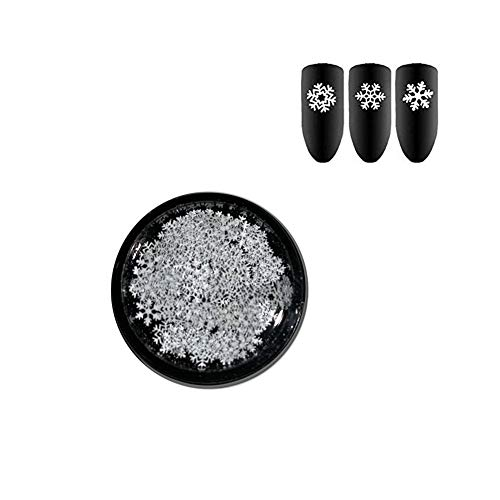 ZeroZ Christmas Nail Art Glitter Decorations Snowflake Sequins Thin Shining 3D Nail Art Stickers Manicure Make Up DIY Decals Decoration (White)