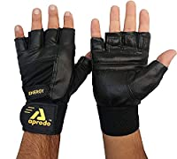 Perfect for hard gym training, fitness, weight lifting with elastic strap for added wrist support. DOUBLE Strong Velcro for Support Made of Genuine Synthetic Leather And 4-Way Stretchable Material. 4 Way Stretch Material for easy adjustment and comfo...