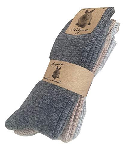 worldsocks calzini caldi in lana d 'angora per uomo e donna,calze calzini invernali per il freddo made in italy,altezza met polpaccio.(3 pack or 6 pack) (43-46, 3 paia ass. A)