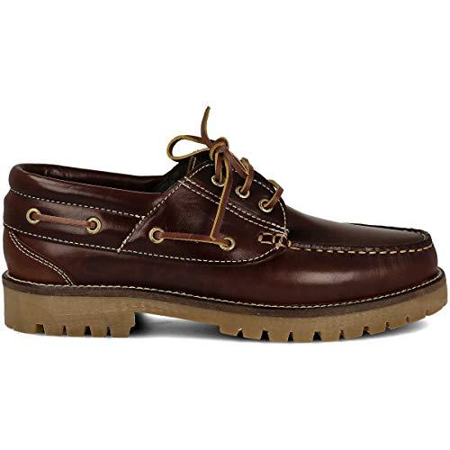 PAYMA - Zapatos Náuticos Timber de Piel Seahorse Engrasada. Hombre, Mujer, Niño. Hecho en ESPAÑA. 3-Ojales. Piso Caramelo, Negro o Goma Track. Color: Marrón. Talla 43