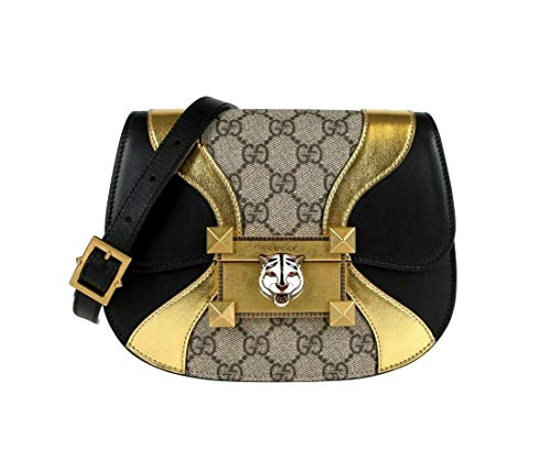 41PCwu0dRwL Made of GG supreme monogram canvas; GG supreme monogram canvas; Gold tone hardware Enameled feline head with red swarovski eyes; Style: Crossbody; Features: Adjustable Strap Measurements: Bag Length: 8; Bag Height: 6; Bag Depth: 2.25; Bag Width: 8 Inches