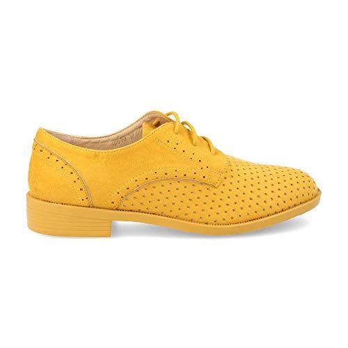 Zapato Blucher de Mujer Plano Perforado con Cordones Primavera Verano 2019 Talla 36 Amarillo