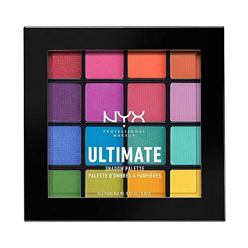 NYX Professional Makeup Paleta de sombra de ojos Ultimate Shadow Palette, Pigmentos compactos, 16 sombras, Acabados mate, satinados y metalizados, Tono: Brights