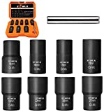 XEWEA Bolt Nut Extractor Set, Easy Out Broken Lug Nut Extraction/Remover Socket Set for Damaged, Frozen,Studs,Rusted, Rounded-Off Bolts&Nuts Screws- 9Pcs 1/2' Drive