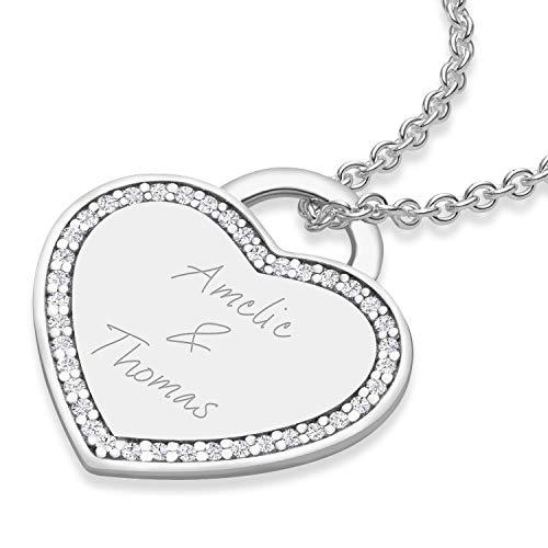 Kette mit Gravur Namenskette Herzkette mit Gravur Jahrestag Geschenk für Sie Kette mit Namen der...