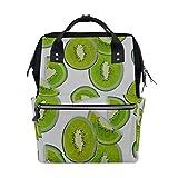 Kiwi Cartoon Fruit Slice Green Bolsas de pañales de gran capacidad Mummy Mochila Múltiples funciones Bolso de lactancia Bolso Tote Bolso para niños Cuidado de bebés Viajes diarios Mujeres