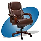 La-Z-Boy Delano Big & Tall Executive Office Chair | High Back Ergonomic Lumbar Support, Bonded Leather, Brown | 45833 model