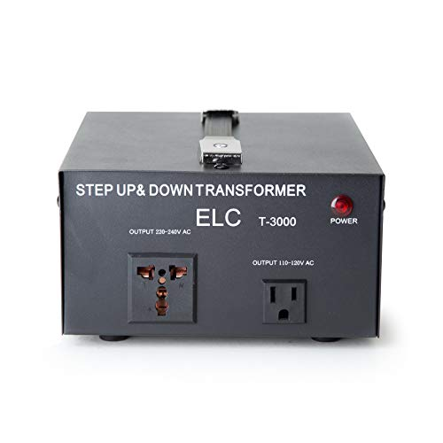 ELC T-3000 3000-Watt Voltage Converter Transformer - Step Up/Down - 110V/220V - Circuit Breaker Protection