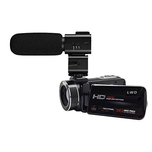 LWD WiFi 1080P Full HD Cámara de vídeo digital 30fps 24MP 16x Zoom Digital Cámara de vídeo con micrófono MIC- Videocámara Digital con Cámara Profesional Monta Escopeta pluma externo