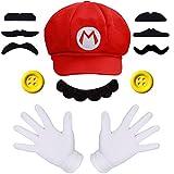 iZoeL Super Mario Chapeau Casquette 2 Gants Blancs 7 Barbe 2 XXL Boutons Mario...