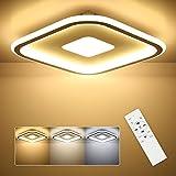 SHILOOK Lámpara LED de techo regulable, plana, 28 W, lámpara de techo con mando a distancia, cuadrada, 3000 K-6500 K, para dormitorio, habitación de los niños, salón, cocina, 30 cm, color blanco