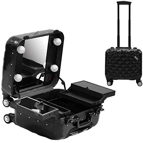 Kosmetikkoffer Beauty Case/Trolley/Koffer/Box Mit 4 LED Birnen Spiegel Für Nagellacke, Kosmetika Und Schmuck,B