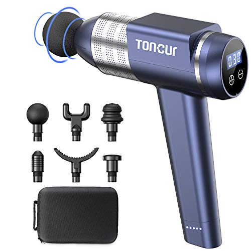 Toncur Massage Gun Deep Tissue, Muscle Massager Ultra-Quiet 38dB with 30 Speeds, 3200RPM, 105° Handheld 6 Massage Heads, for Athletes,Gym, Office Sedentary Pain Relief (30 Speeds, Blue)