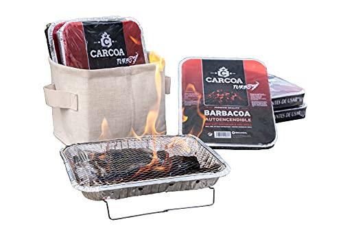 Barbacoas Autoencendibles Carcoa. 10 uds. Perfecta para camping, terrazas y jardines. De un solo uso. Rápido y fácil de encender y usar.