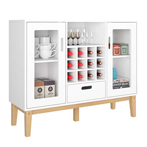 HOMECHO Aparador Moderno con Botellero para 12 botellas Armario de Vino de Gran Capacidad para Almacenamiento para Salón Comedor Cocina de Madera Blanco 100 x 33 x 80.5 cm