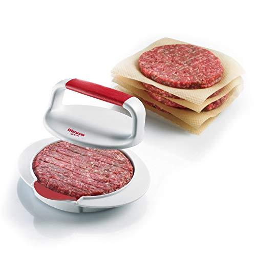 Westmark Hamburgermaker mit Patty-Hebevorrichtung, Hamburger-Presse, Innendurchmesser 11 cm, Kunststoff, Weiß/Rot, 62332260