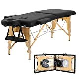 Portable Massage Table Salon Bed Spa Bed Folding 73 Inches Height Adjustable 2 Fold Tattoo Bed with Solid Wooden Legs Carry Case PU Leather Professional Massage Bed with Face Cradle (Black)