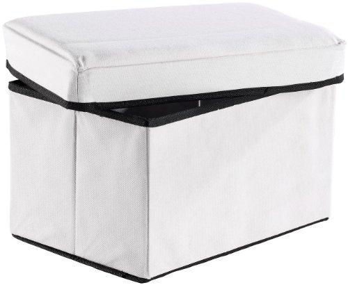 infactory Falthocker: 2in1-Aufbewahrungsbox mit integriertem Hocker, weiß (Box mit Deckel)