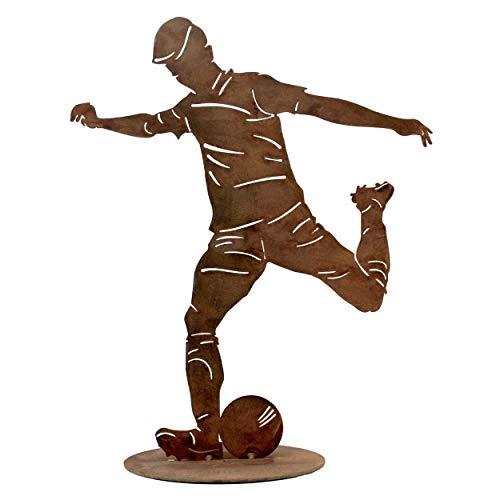 Rostikal Fußball Deko Geburtstag Geschenk 40 cm - Gartendeko Figuren Rost Edelrost
