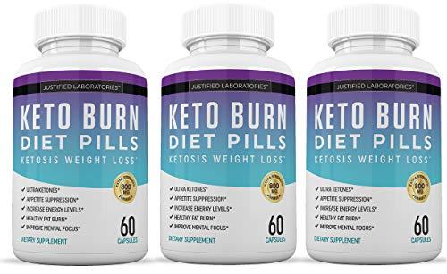 Keto Diet Pills Burn Shred BHB Salts Advanced Ketogenic Supplement Exogenous Ketones Ketosis Weight Loss Fat Burner Boost Energy Metabolism Men Women 60 Capsules 3 Bottles 1