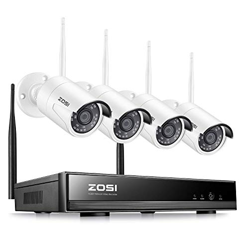 ZOSI 1080P WiFi Sistemi di sorveglianza Aottom 8 Canali 1080P Telecamere Videosorveglianza WiFi Kit, 4X2.0MP Telecamera WIFI IP + 1X1080P WIFI NVR Senza HDD, Visione Notturna, Motion Detection, P2P, IP66