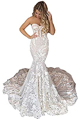 Women's Strapless Backless Sleeveles Lace Applique Mermaid Wedding Dresses for Bride with Train Tulle Bridal Gowns This wedding dress is elegant¡gorgeous and charming. It is great for beach wedding, garden wedding or a chapel wedding etc. Size: Pleas...