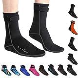 OMGear Water Socks Neoprene Socks Beach Booties Shoes 3mm Glued Blind Stitched Anti-Slip Wetsuit Boots Fin Swim Socks (3mm High Cut/Grey, S(Men 6-7,Women 6-8))