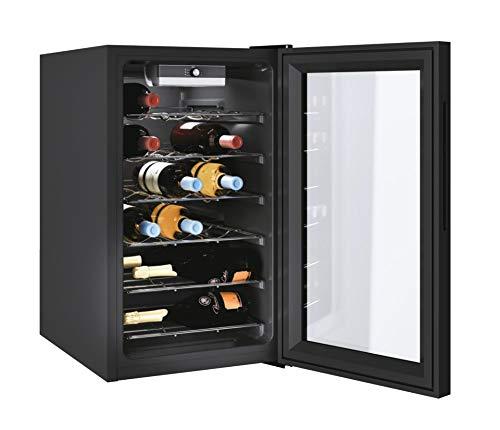 CANDY DiVino Cantinetta per Vino CWC 021 M/N 73 Litri, 21 Bottiglie, Conservazione da 7 a 18 C, Interfaccia Meccanica, 6 Ripiani in Metallo, 39 d(B)A, Maniglie Integrate, Colore Nero