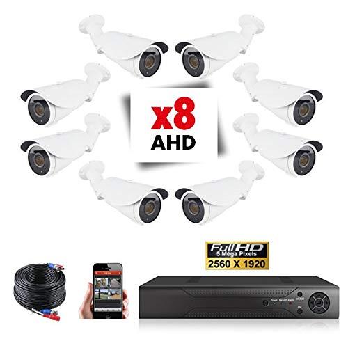Kit Videosorveglianza 8 telecamere Tubi varifocali Pro Full AHD Sony 5 MP - 6000 GB, 6 cavi da 40 m + 2 x 20 m, schermo da 19'