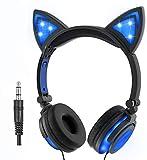 LIMSON Over-Ear-Headphones mit Katzenohr, Wiederaufladbare Faltbare Headset LED-Licht Leuchtenden Kopfhörer für Kinder (Blau)