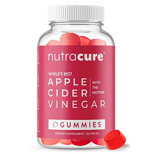 Nutracure Apple Cider Vinegar Gummies for Detox, Cleanse & Weight Management - Non-GMO ACV Gummies with The Mother - 60 Vegan Gummy Vitamins
