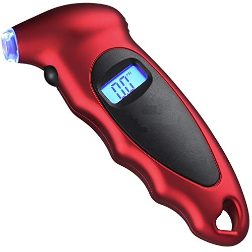 Voroly Digital Tyre Pressure Gauge 150 PSI 4 Settings for Car Truck Bicycle with Backlit LCD and Non-Slip Grip, Red (6 Month Warranty)