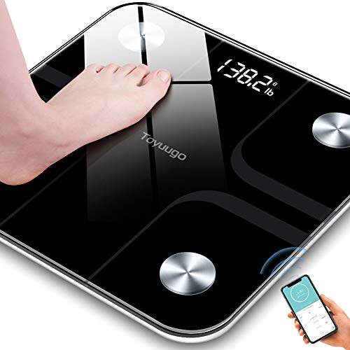 Toyuugo Bluetooth Body Fat Bathroom Scale,Scales Digital Weight,Weight Scale,Body Composition Analyzer Wireless BMI with Smart Phone App Scales,396 Pounds / 180kg Max (Black)