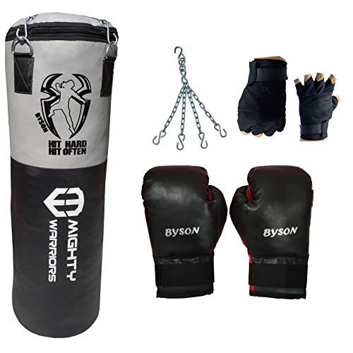 Byson Synthetic Leather Rough and Tough Boxing Kit Set for Men and Senior(3 feet Punching Bag,12oz...