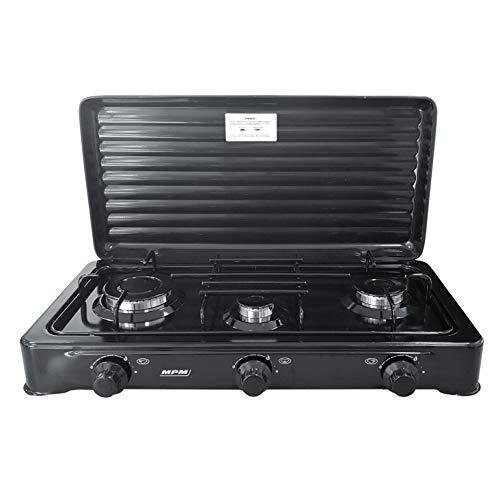MPM SMILE-KN/ - Cucina a gas portatile, per adulti, unisex, Unisex - Adulto, SMILE-KN-03/1KB, Nero , 3 Quemadores