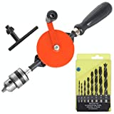 MAVENPICK Powerful Speedy Hand Drill 3/8-Inch Capacity with 8Pcs Drill Bit Set, Mini Hand Drill Manual with Finely Cast Steel Double Pinions Design, Chucks and Grip Handle for Woods, Plastics