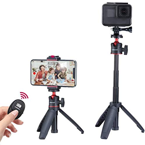 Mini Vlog Tripod Set, Extendable Small Selfie Stick Tripod+Phone Tripod Mount Cold Shoe+Remote Controller+Universal Action Cam Mount Compatiblw w iPhone Smartphone Compact Camera Hero 5 6 7 8