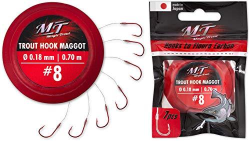 Magic Trout 8 Trout Hook Maggot Argento  0,18 mm 70 cm 7 pezzi
