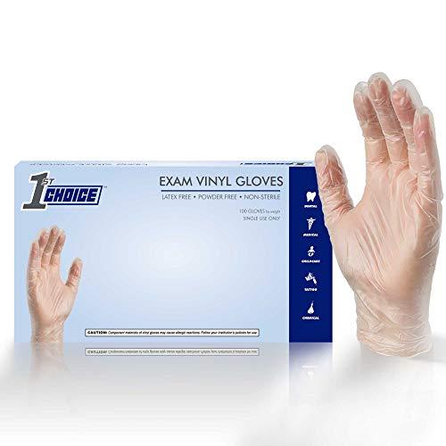 1st Choice Exam Clear Vinyl Gloves - Latex Free, Powder Free, Non-Sterile, Medium, Box of 100, Pack of 10