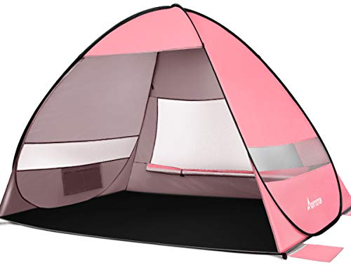 MOVTOTOP Beach Tent 【2021 Newest】, Large Pop up Beach Tent for 4 People , Anti-UV Automatic Beach Tent Sun Shelter Instant Portable , 4 Sides Ventilation Design Sun Shelter Tents , Suitable for Family