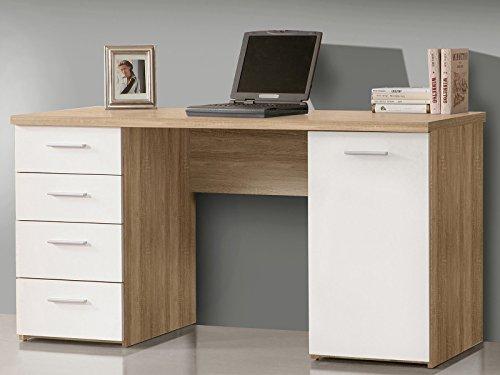 Schreibtisch Bürotisch Computertisch Arbeitstisch Laptoptisch Bürmöbel Balu I Sonoma-Eiche/Uni Weiß
