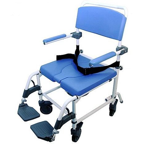Shower Transport Chair Bath Toilet Rehab Commode Bariatric 22' Extra-Wide Seat - Aluminum Adjustable 186 X-Wide
