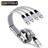 Amuvec Câble Multi USB, 4 en 1 Retractable Multi Chargeur USB Câble...
