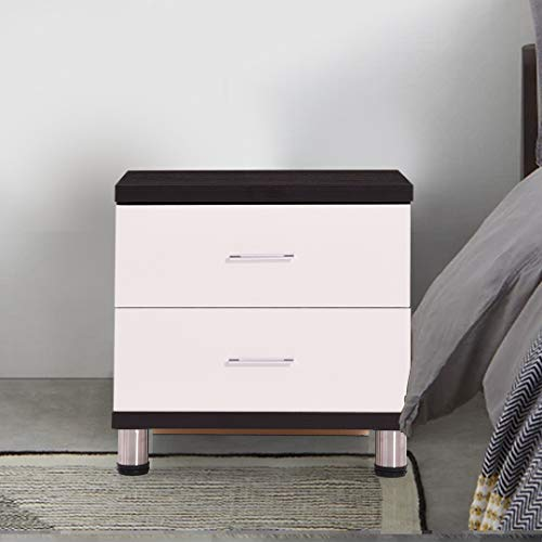 Royaloak Havana Bedside Table with 2 Drawers (Black and White)