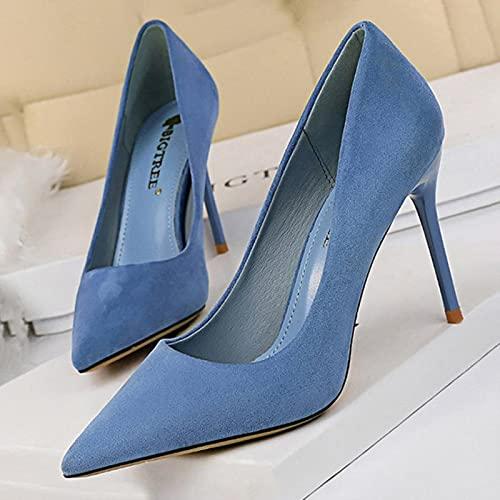 YHCS Chaussures 2021 Nouvelles Femmes Pompons Daim Talons Hauts Chaussures Mode Bureau Chaussures Stiletto Chaussures de fête Confort Femmes Femmes Talons