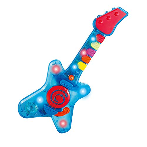infunbebe Rock N Roll Guitar Little Rock Star Guitar, Electronic Musical Toy Instrument with Lights & Musics for Infant from 2 Years & Up, Blue