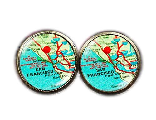 Boucles d'Oreilles à San Francisco, California Boucles d'oreilles, carte...