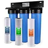 iSpring WGB32B-PB 3-Stage Whole House Water Filtration System w/ 20-Inch Big Blue Sediment, Carbon Block, and Iron & Lead Reducing Filter